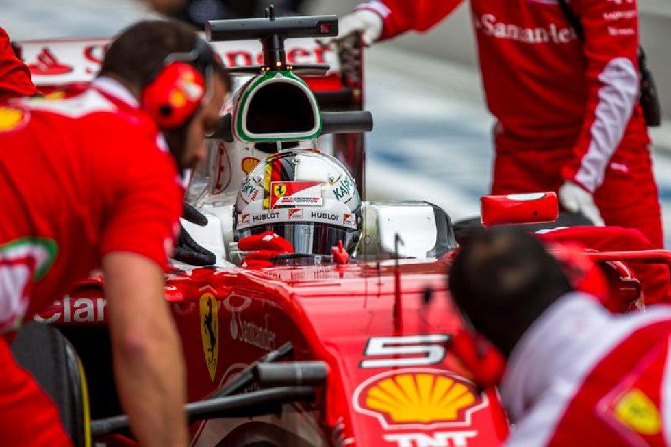 La escuadra Ferrari, una de las protagonistas de las pruebas previas.