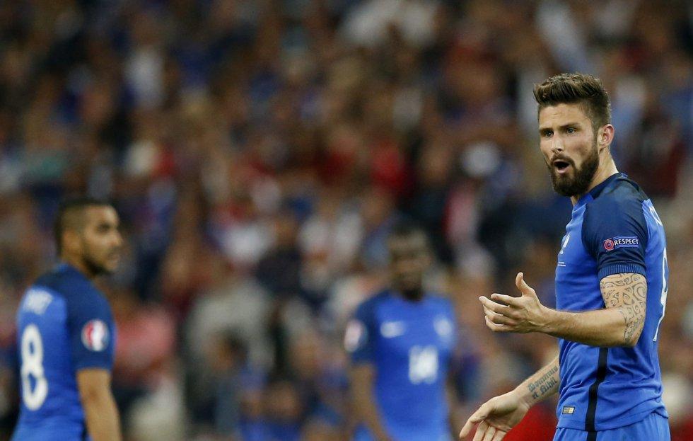 Giroud durante el partido Francia Vs. Albania por la Eurocopa