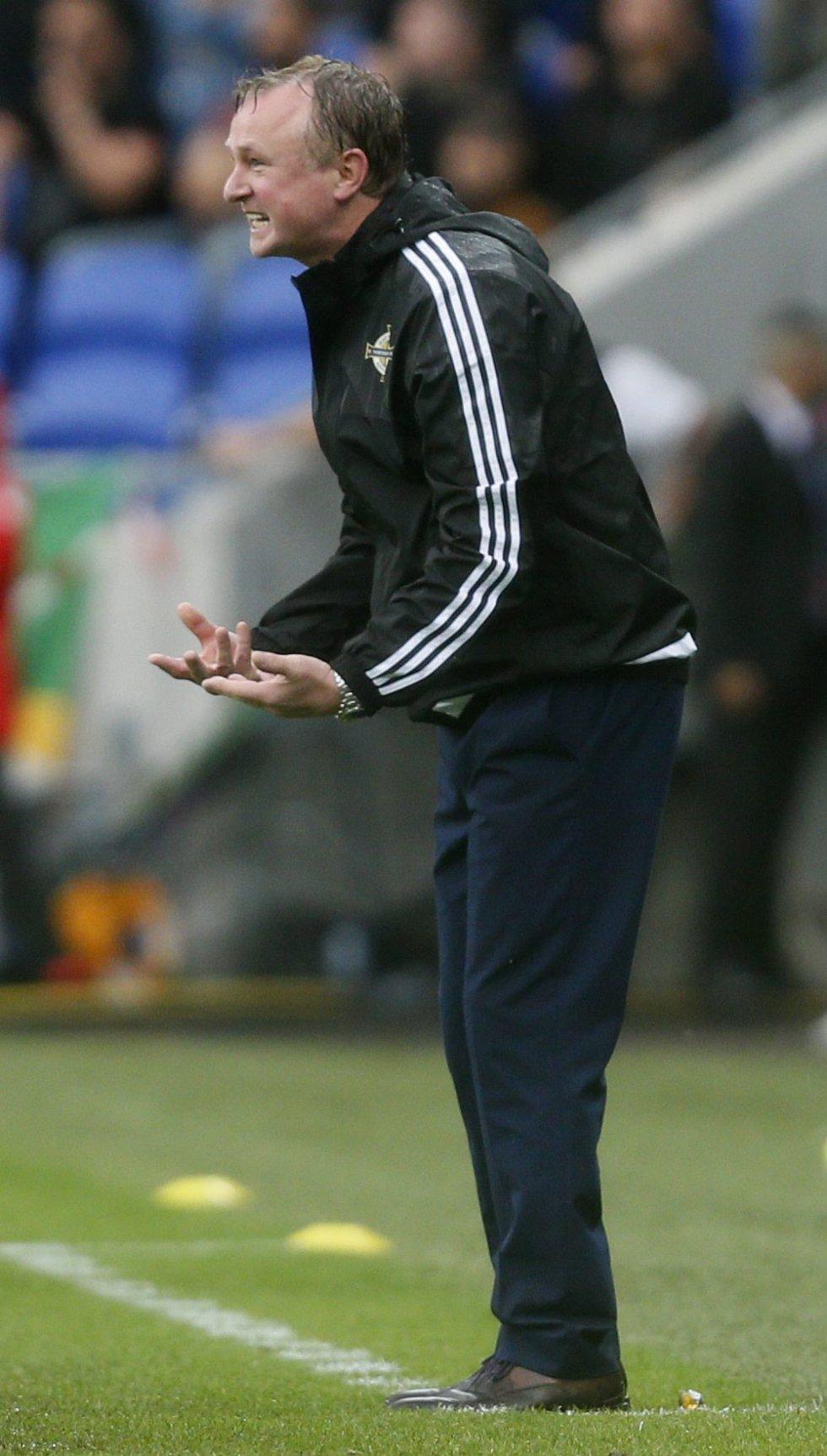 El entrenador de Irlanda del Norte Michael O'Neill da indicaciones a sus dirigidos.