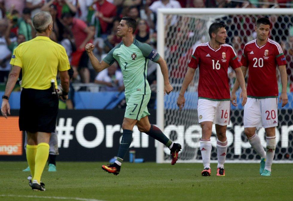 Cristiano celebra el segundo gol de Portugal.