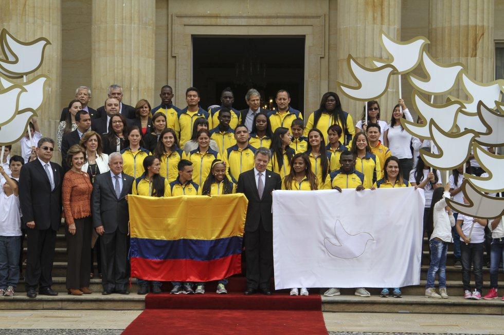Parte del equipo Olímpico en la Casa de Nariño.