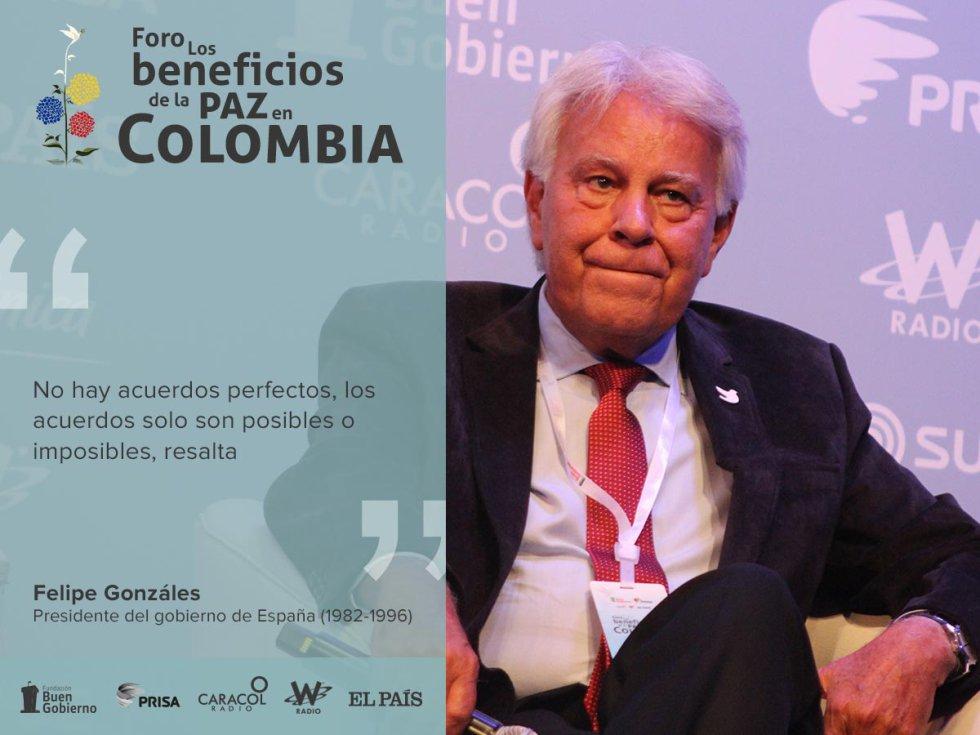 """En su dialogo con Dario Arizmendi  en el panel de ex presidentes del foro """"los beneficios de la paz en Colombia"""", habló de las dificultades políticas que siempre se atraviesan en los procesos de paz."""