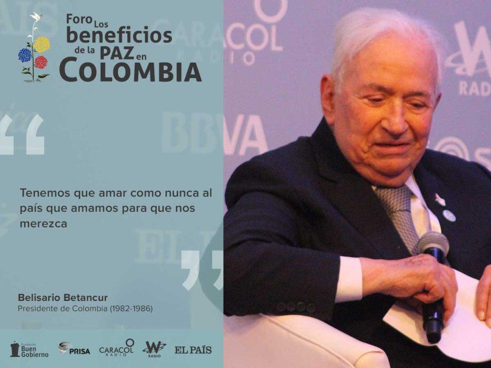 El expresidente concluyó el Foro Beneficios de la Paz, de la mano de varias citas sobre el fin de la guerra.