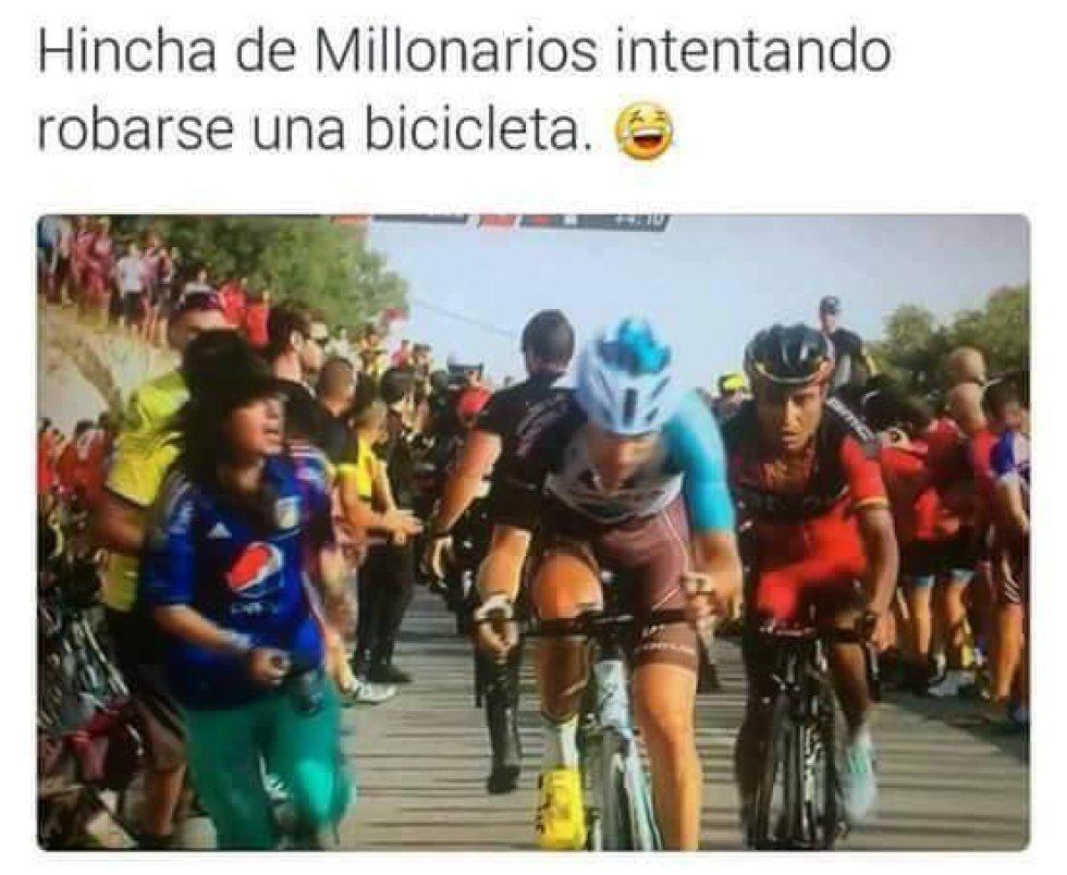 La diversión invade a los seguidores del ciclista colombiano por su liderazgo en la última etapa de la Vuelta España.