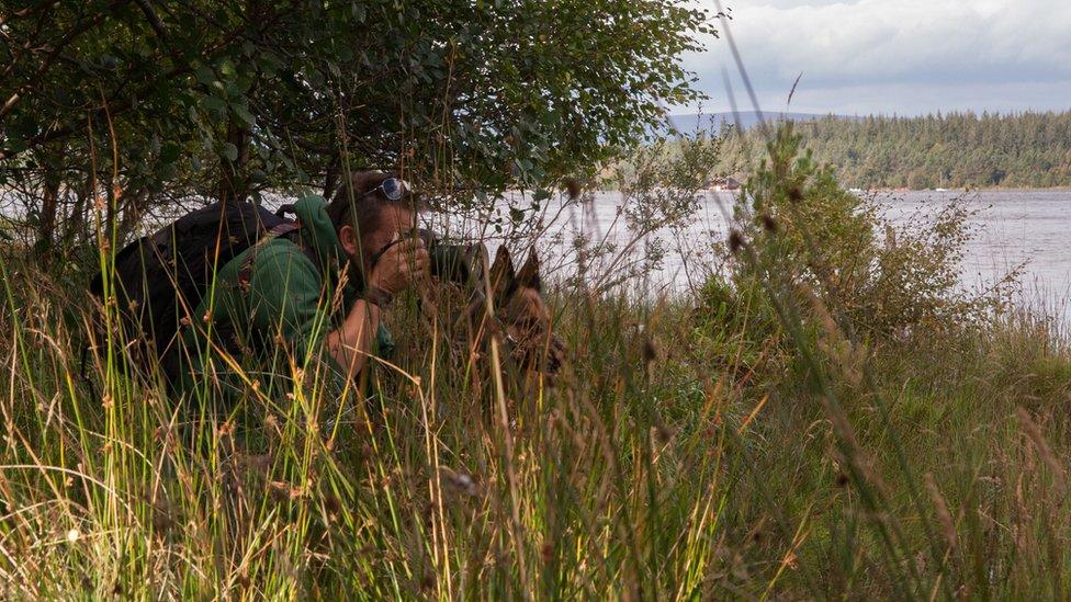"""""""Esta foto la tomó mi pareja durante un viaje a Escocia"""", en Lonch Morlich, en el bosque de Glenmore, cuenta Darren Shearing. """"Es el epítome de todo lo que me ayuda a relajarme: la fotografía, nuestros dos pastores alemanes y pasear por el campo en Escocia""""."""
