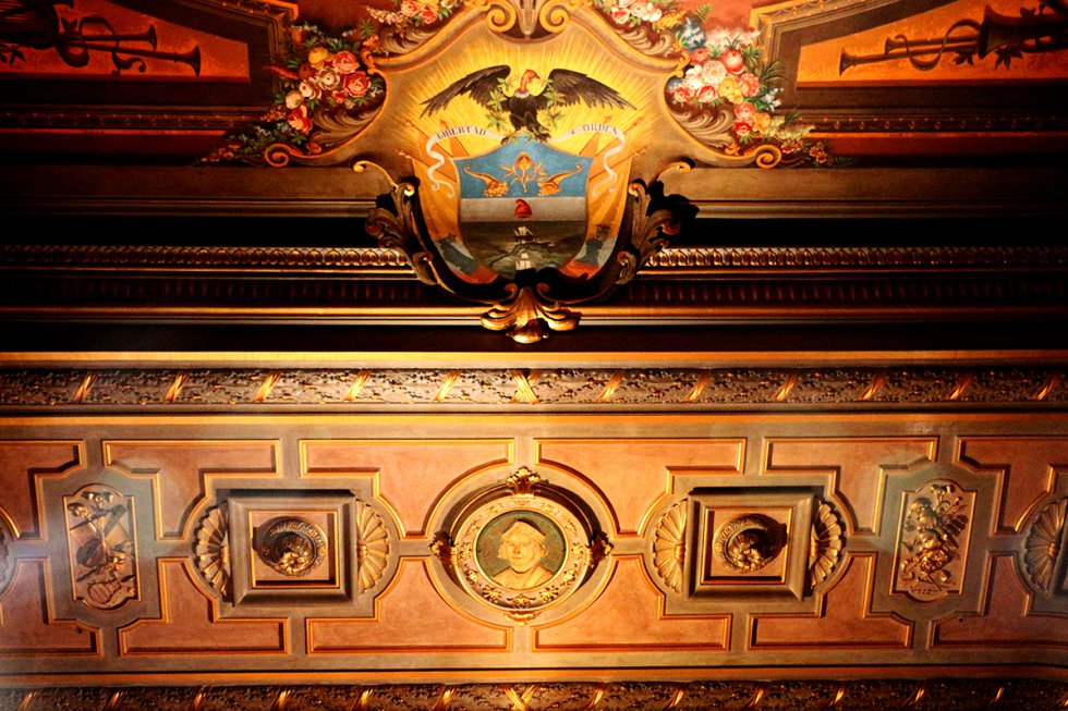 Bajo el plafón y cerca del arco de proscenio, se diseñó un Escudo Nacional coronando por un cóndor de alas batientes. El cóndor tiene la vista en dirección contraria al escudo original.