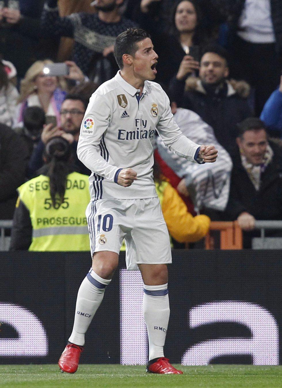 James llegó a cuatro goles con el Real Madrid en la presente temporada.