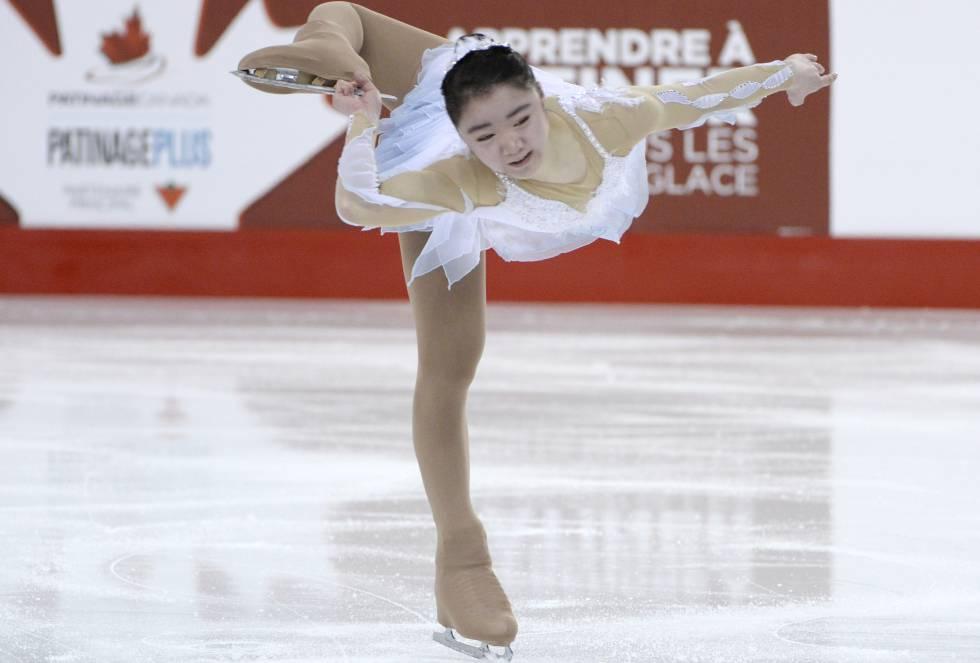 Megan Yim se presenta durante el Campeonato Nacional Canadiense de Patinaje Artístico en Canadá.