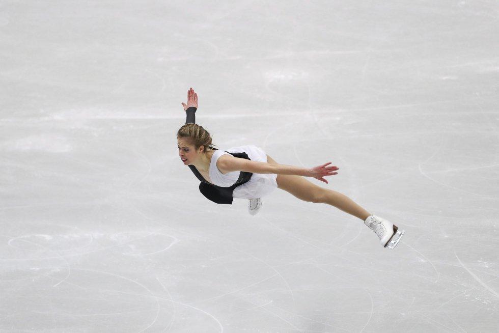Carolina Kostner realiza su programa corto individual femenino en los Campeonatos de Europa de Patinaje Artístico