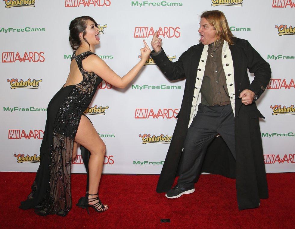 Los actores Allie Haze y Evan Stonec en los premios de video para adultos, celebrados en Las Vegas.