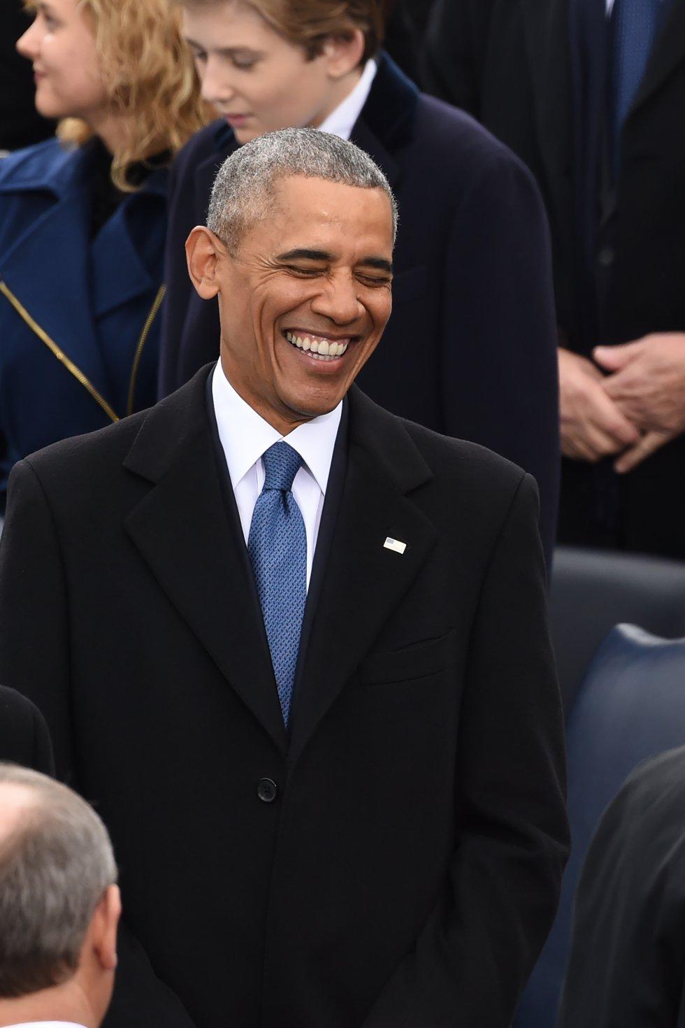 Barack Obama en la ceremonia de posesión de Donald Trump como nuevo presidente de Estados Unidos.