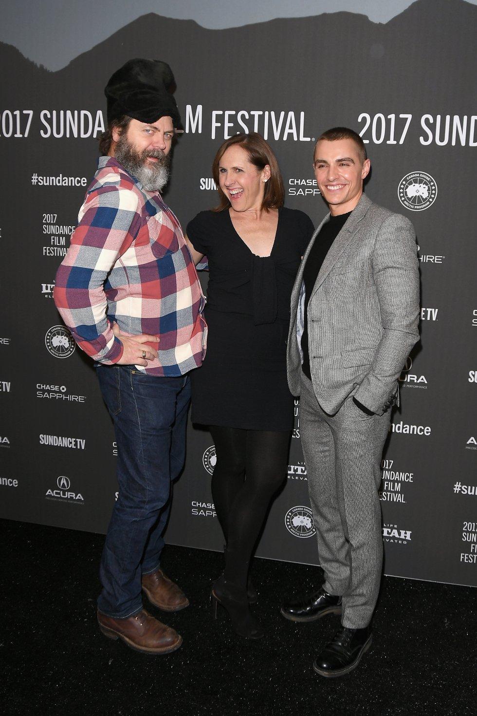 Actors Nick Offerman, Molly Shannon, y Dave Franco en El Festival de Cine de Sundance en Utah.