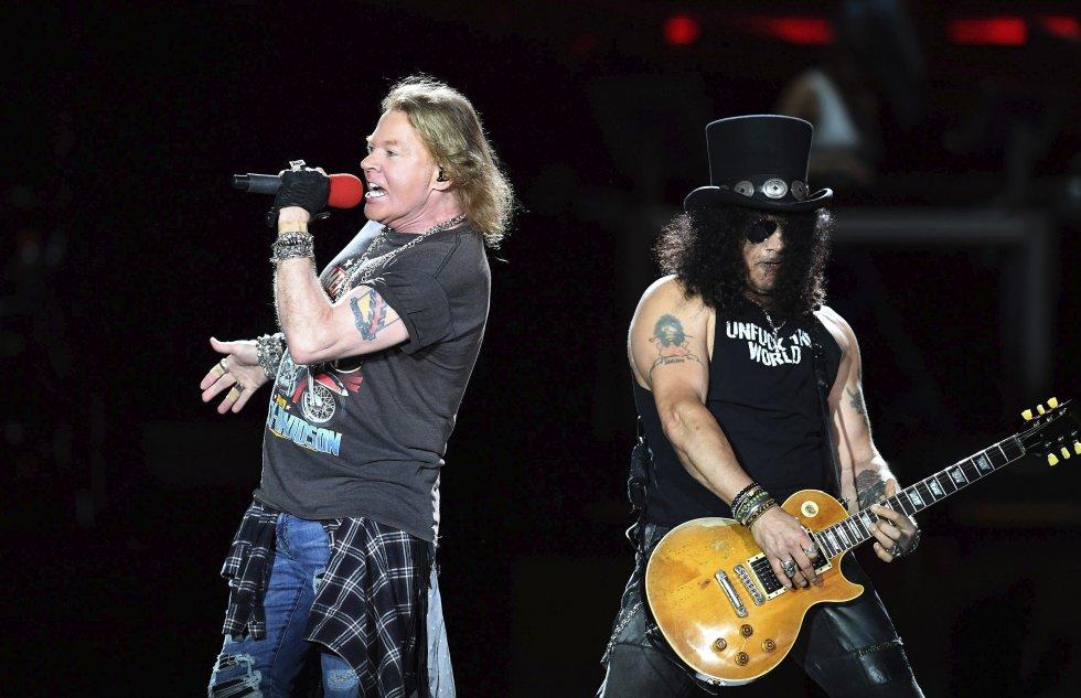 "Axl Rose y el guitarrista inglés Saul Hudson ""Slash""."