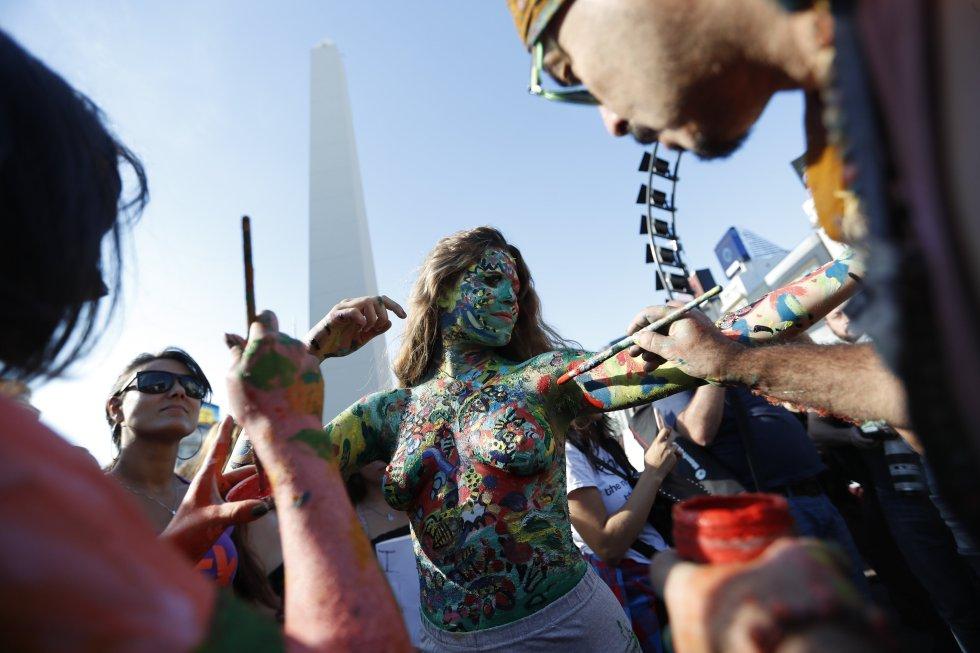 El body pain otra de las expresiones artísticas que acompañó la protesta
