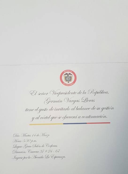 Tarjeta de invitación para la rendición de cuentas del vicepresidente