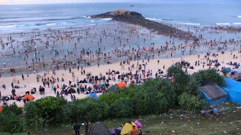 Las comunidades Sasak locales celebran el festival cada febrero, siguiendo su calendario tradicional. La semana pasada, antes de celebrarse el gran evento, tuvo lugar un concurso de música tradicional y un desfile cultural.