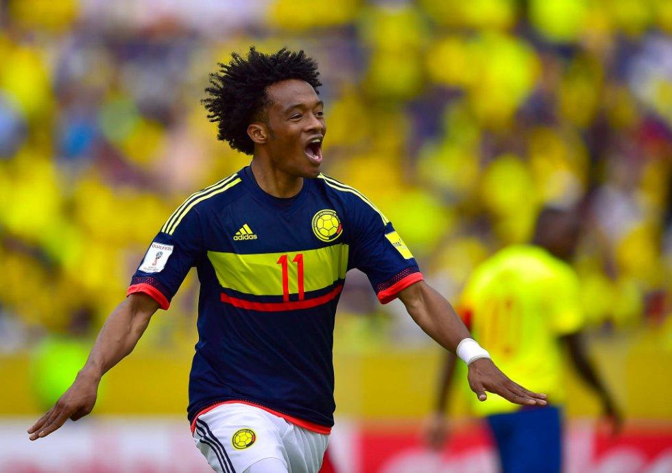 Juan Guillermo Cuadrado anotó el segundo gol de Colombia a los 33 minutos.