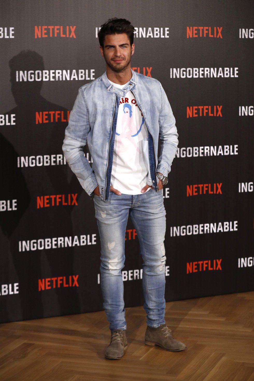 """El actor Maxi Iglesias fue otro de los que asistió a la presentación de la serie""""Ingobernable"""" en Madrid, España."""