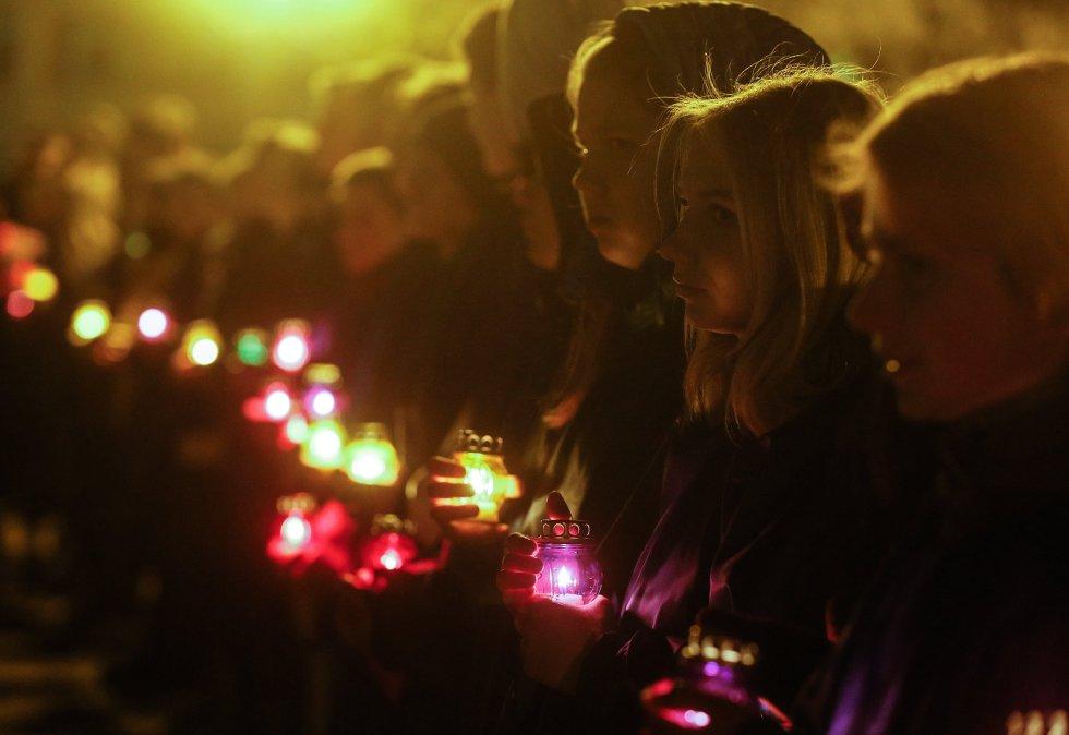 Kiev fue otra de las ciudades que se unió a esta multitudinaria celebración.