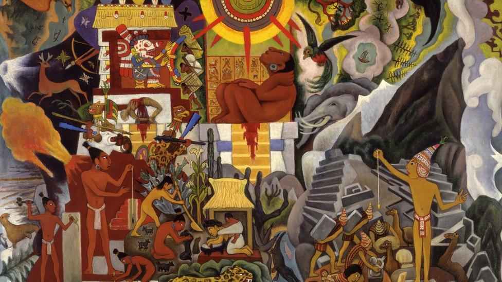 """El mexicano Diego Rivera y el español Pablo Picasso fueron artistas contemporáneos, competidores pero también admiradores de sus respectivos trabajos, igualmente ambiciosos y prolíficos, de fama internacional y muy conscientes de sus exuberantes personalidades. (Obra: """"América prehispánica"""", óleo sobre lienzo, Diego Rivera, 1950)."""