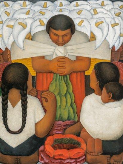 """La exposición presenta momentos de intersección en la formación del modernismo tanto en Europa como en América Latina y se pregunta cómo estas dos figuras sobresalientes del siglo XX se dejaron atrapar por sus respectivos mundos: el antiguo Mediterráneo y la América precolombina. (Obra: """"Día de flores"""", óleo sobre lienzo, Diego Rivera, 1925)."""
