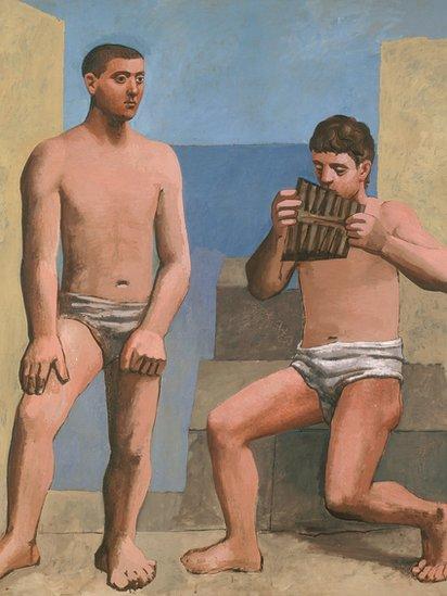 """La exposición compara sus trayectorias partiendo de su formación académica similar pasando por su inmersión en el Cubismo y su retorno a un compromiso con la antigüedad desde los 1920 hasta los 1950. (Obra: """"La flauta de Pan"""", óleo sobre lienzo, Pablo Picasso, 1923)."""