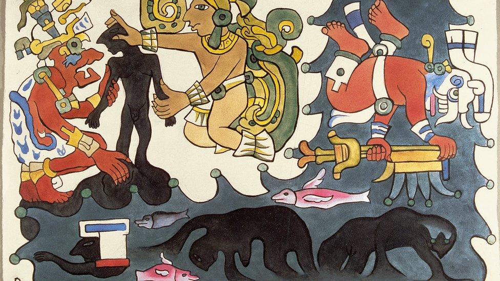"""Sin duda, los murales de Rivera sirvieron de inspiración a Picasso para su obra más emblemática, el Guernica, que el artista malagueño pintó en 1937 como reacción al bombardeo de Gernika, en el País Vasco, por fuerzas alemanas e italianas. (Obra: """"La creación del universo"""", acuarela, Diego Rivera, 1931)."""
