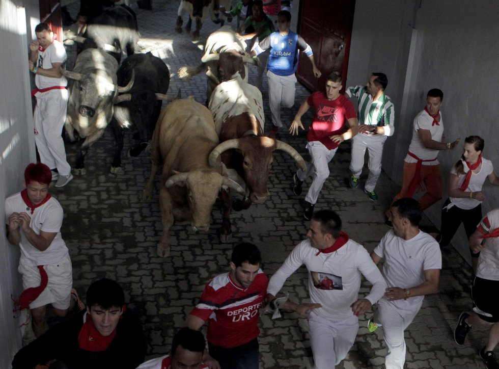 Fiestas de San Fermín en Pamplona, España.