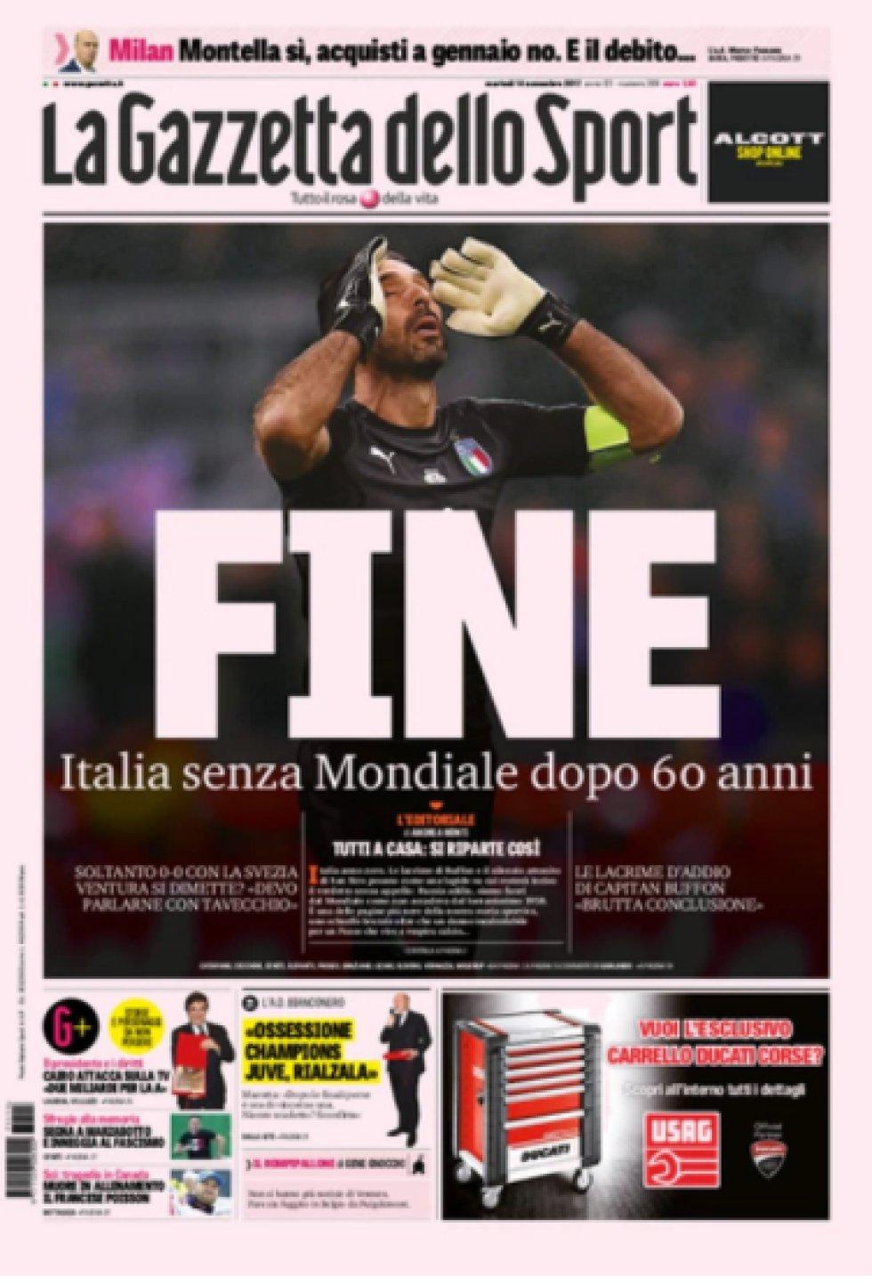 """""""Fin. Italia sin mundial después de 60 años""""."""