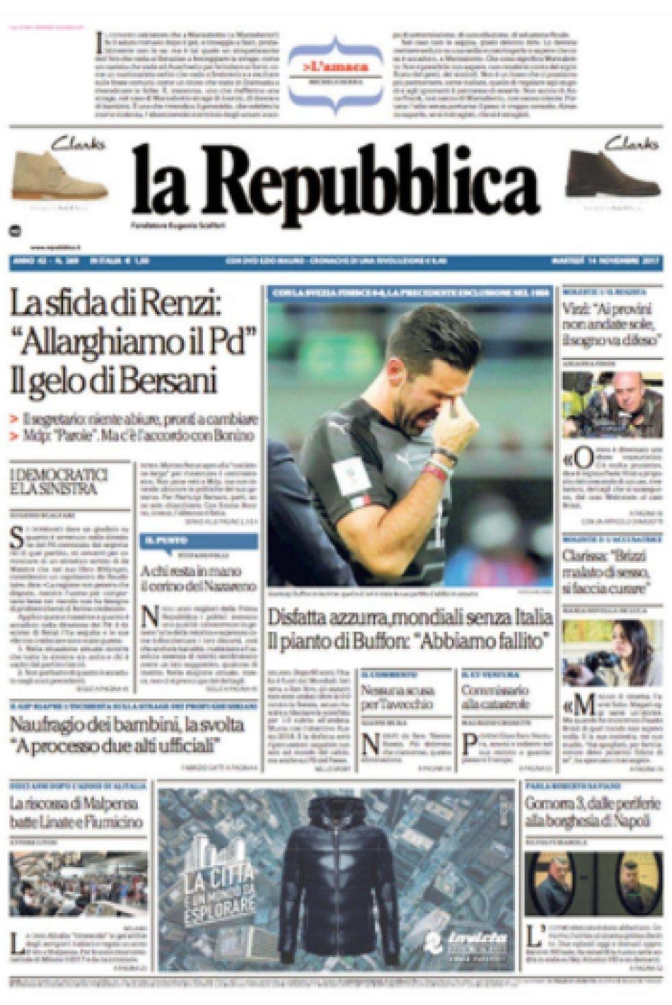 """Derrota azzurra, Mundial sin Italia. El llanto de Buffon: 'Fracasamos'."