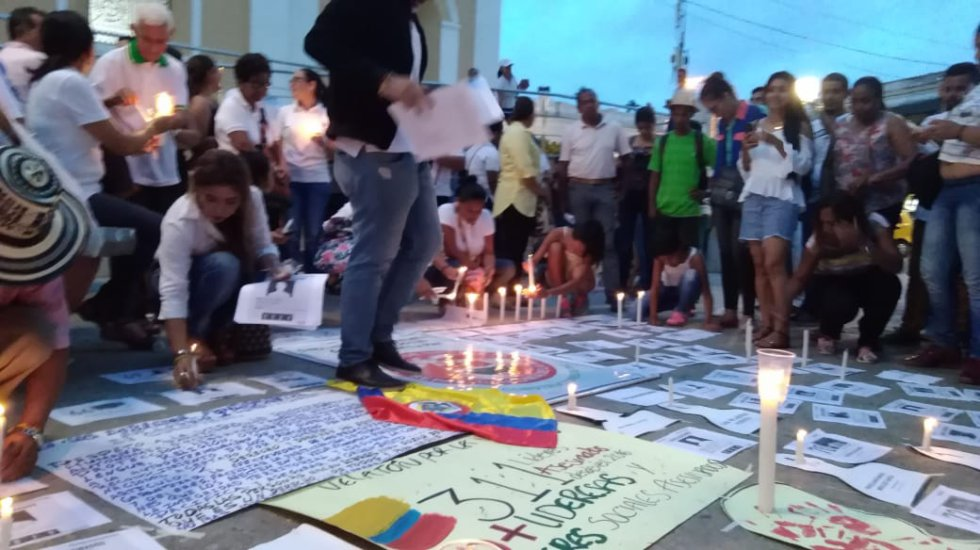En Sincelejo, la velatón se desarrolló en la Plaza Olaya Herrera