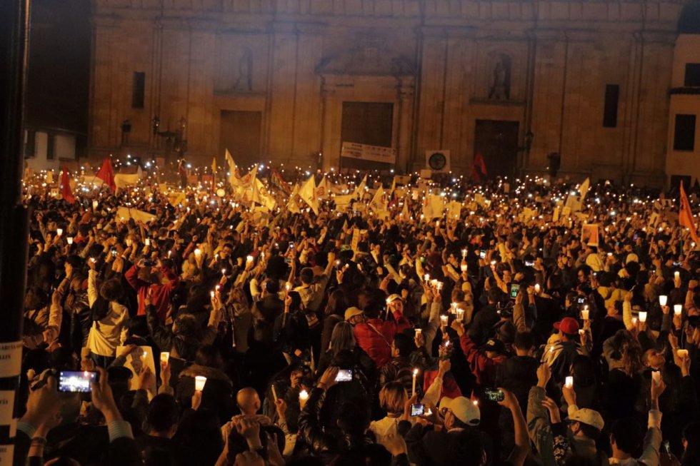 La plaza de Bolivar de BOgotá uno de los puntos más concurridos durante la velatón