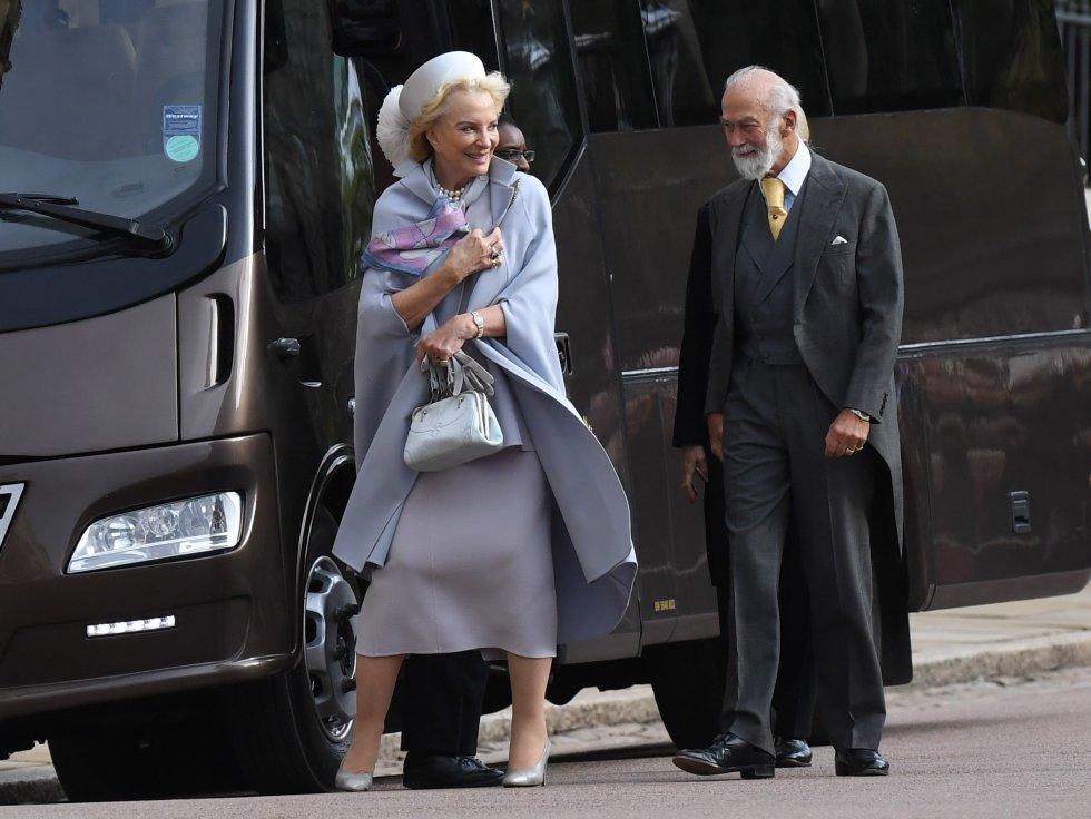 Los duques de Kent Catalina y Eduardo a su llegada a la Capilla de San Jorge con motivo del enlace entre la princesa Eugenia y Jack Brooksbank en Windsor