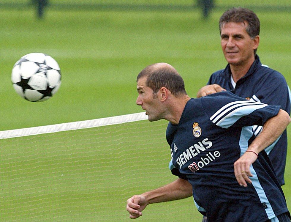 Queiroz en entrenamiento junto a Zinedine Zidane