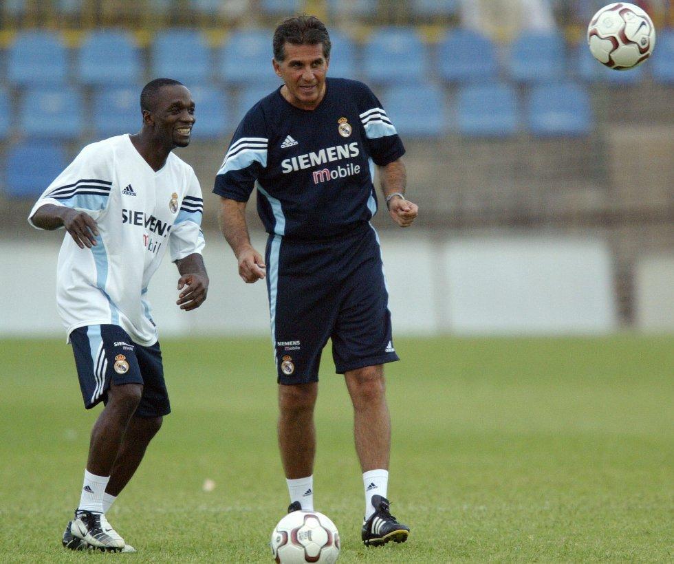 Queiroz en entrenamiento junto a Claude Makélélé