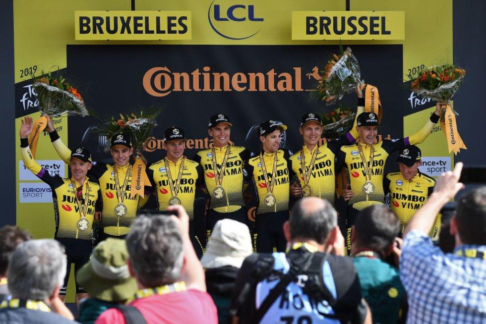 Etapa 2 Tour de Francia: En Fotos: Una jornada marcada por trabajo en equipo en el Tour de Francia