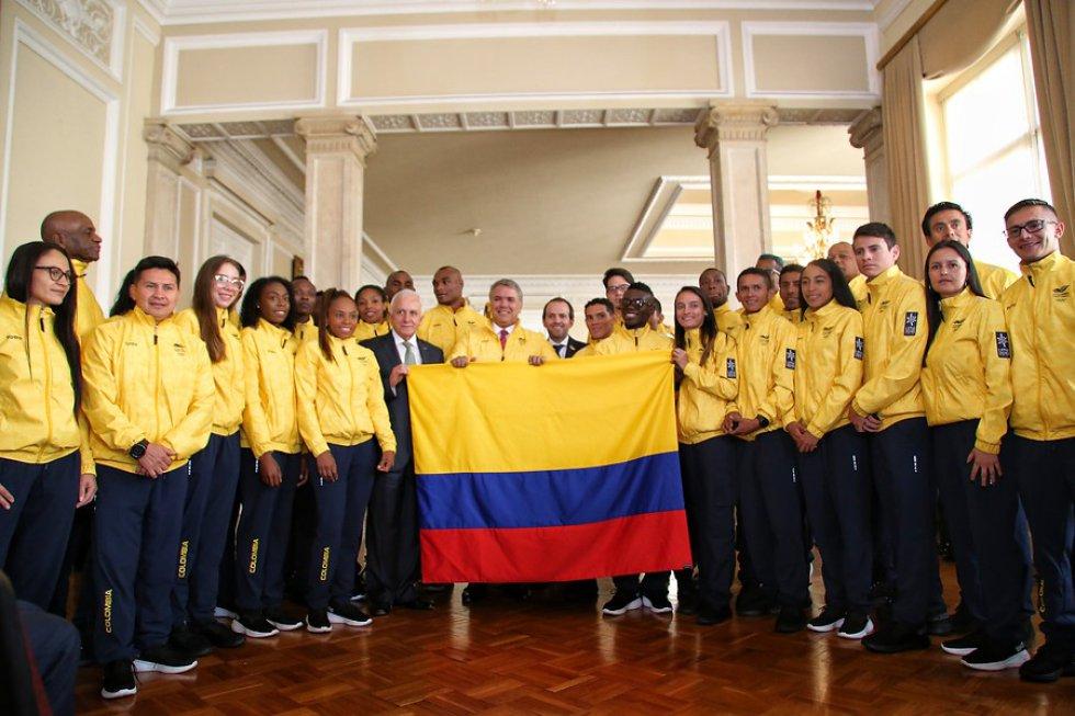 juegos panamericanos delegacion colombiana: La delegación de los juegos Panamericanos recibió el pabellón nacional
