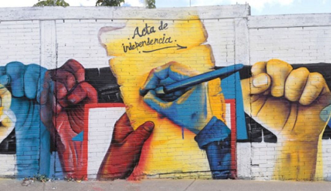 Independencia de Colombia en grafitis