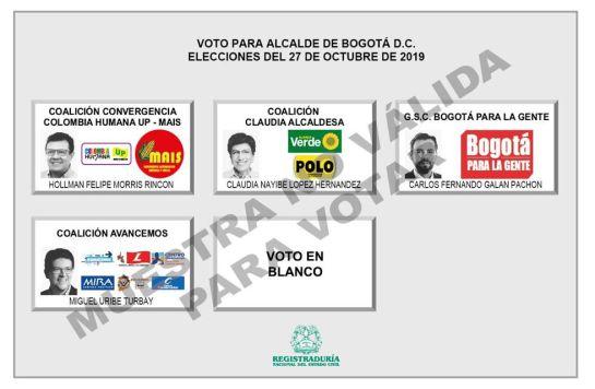 Elecciones Alcaldías Colombia: Así quedó el tarjetón de candidatos a la alcaldía de Bogotá