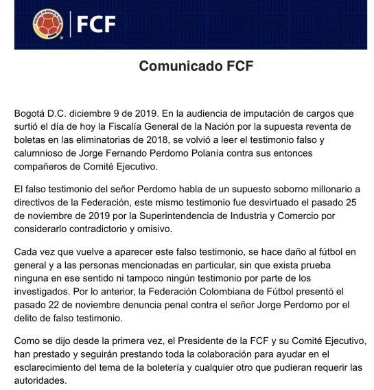 Selección Colombia Fútbol Fiscalía: Directivos de FCF habrían recibido sobornos por boletería de eliminatorias