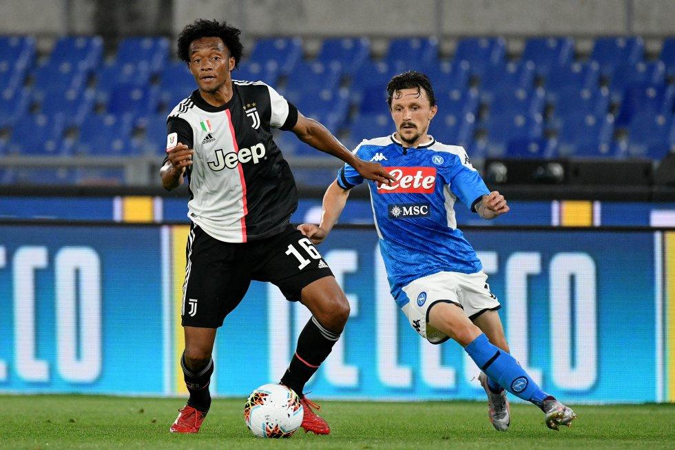 El colombiano Juan Guillermo Cuadrado volvió al once titular de la Juventus tras ser suplente en la llave de vuelta de las semifinales contra el Milan.