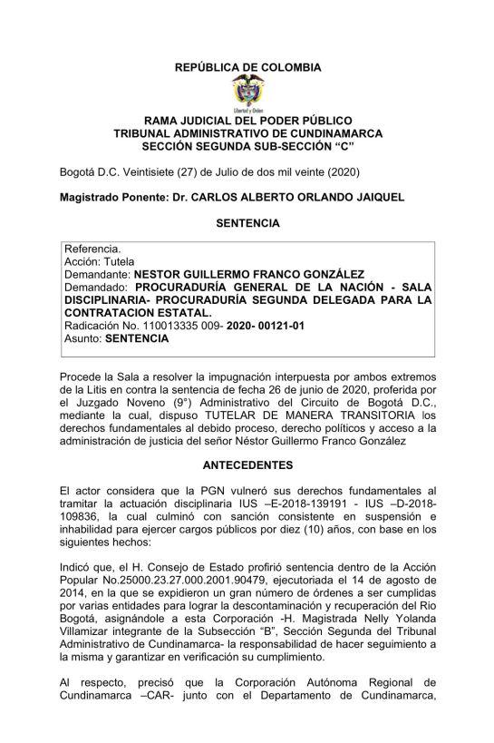 Destituciones políticas: En firme queda destitución por 10 años al exDirector de la CAR Cundinamarca