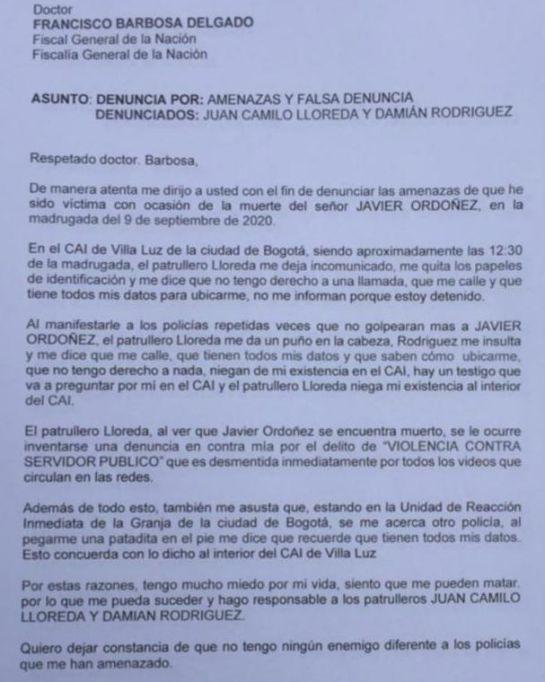 Asesinato Javier Ordóñez: Las denuncias del testigo del crimen de Javier Ordóñez
