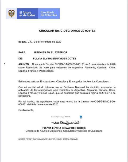 Colombia ya no restringirá la entrada a viajeros de seis países: Colombia ya no restringirá la entrada a viajeros de seis países