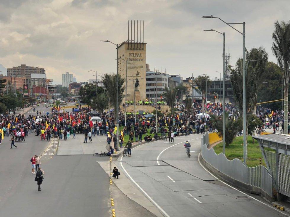 Manifestaciones en el punto del Monumento a los Héroes