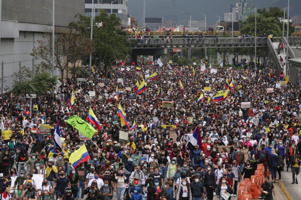 Paro Nacional en contra de la reforma tributaria. Lugar: CRA 10 con calle 26 en Bogotá