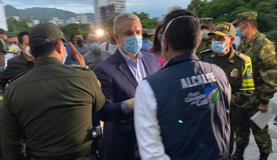 El presidente Iván Duque fue recibido por el alcalde Jorge Iván Ospina.