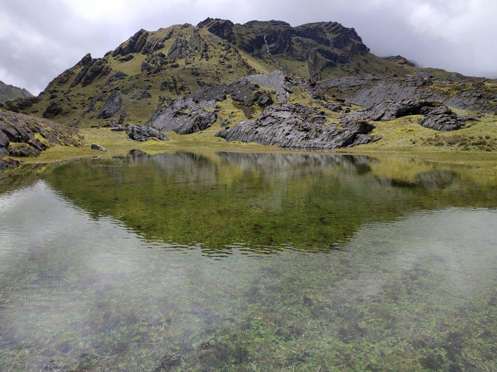 El agua del Almorzadero es tan pura y cristalina que es posible ver con facilidad los musgos y algas que habitan en el fondo de los humedales y lagunas
