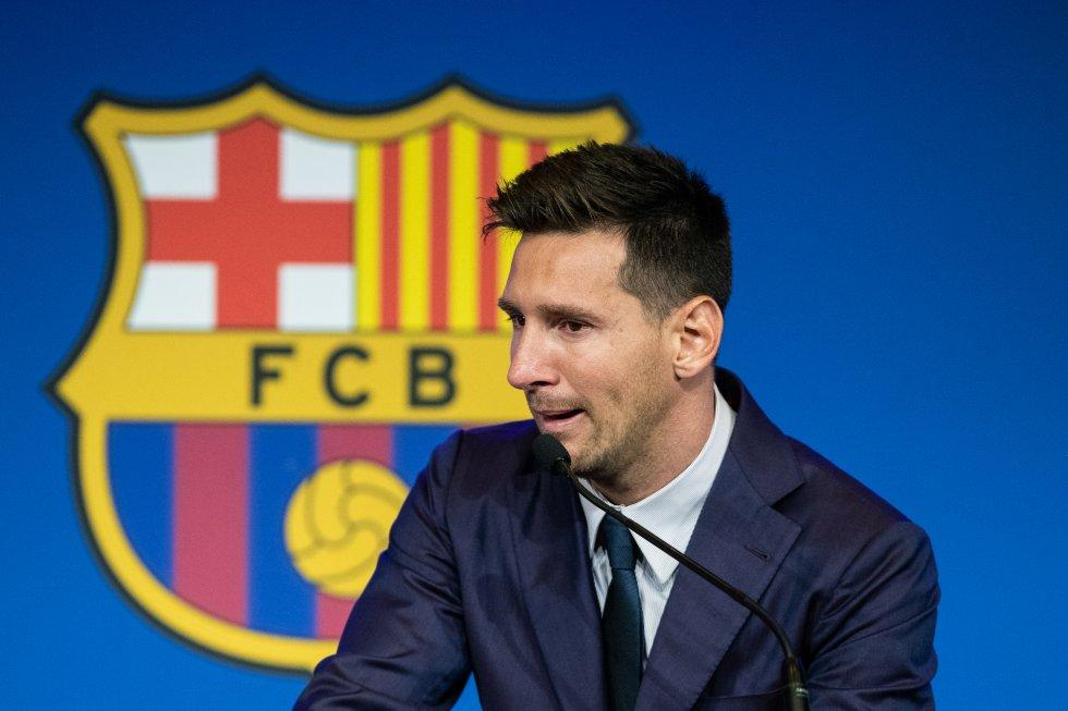 Lionel Messi en su despedida del Barcelona